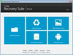 Capture d'ecran du logiciel 7-Data Recovery Suite Free 4.1