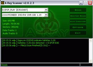 Capture d'écran du logiciel A-Ray Scanner 2.0.2.3