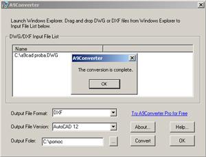 Capture d'écran du logiciel A9Converter 1.0.4