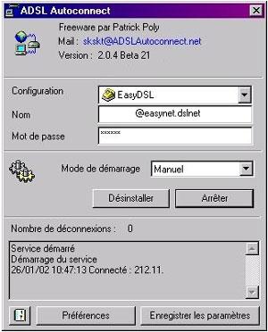 Capture d'écran du logiciel ADSL Autoconnect 2.0.6 F7 fr