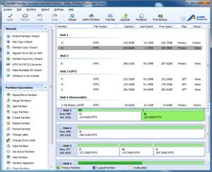 Capture d'écran du logiciel AOMEI Partition Assistant Stan...
