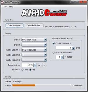 Capture d'écran du logiciel AVCHDCalculator 1.2