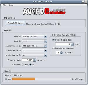Capture d'ecran du logiciel AVCHDCalculator 1.2 - Linux