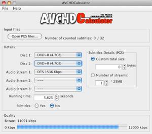 Capture d'écran du logiciel AVCHDCalculator 1.2 - MacOS