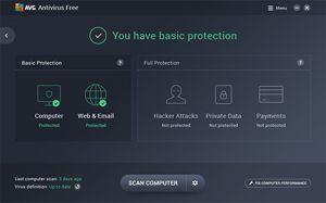 Capture d'écran du logiciel AVG Antivirus Free 19.8.3108 fr