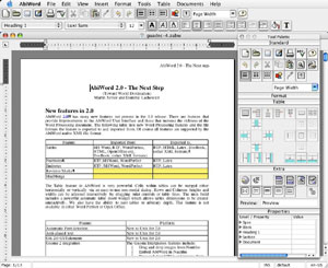 Capture d'écran du logiciel AbiWord 2.4.5 fr - MacOS