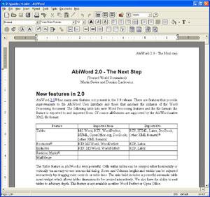 Capture d'ecran du logiciel AbiWord Portable 2.8.6 Rev.3 fr - Windows