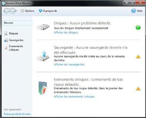 Capture d'écran du logiciel Acronis Drive Monitor 1.0 buil...