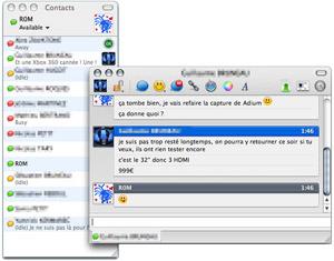 Capture d'écran du logiciel Adium 1.5.10.4 fr