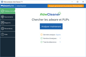 Capture d'écran du logiciel AdwCleaner 7.2.4.0 fr