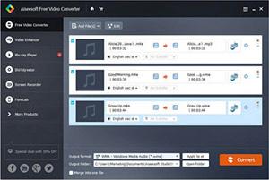 Capture d'ecran du logiciel Aiseesoft Convertisseur Vidéo Gratuit 2.0.8 fr
