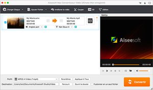 Capture d'ecran du logiciel Aiseesoft Convertisseur Vidéo Gratuit 2.0.8 fr - macOS