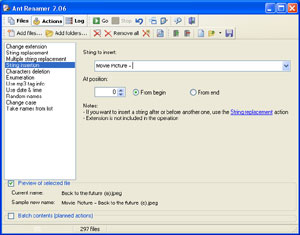 Capture d'ecran du logiciel Ant Renamer 2.12.0 fr