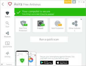 Capture d'ecran du logiciel Avira Free Antivirus 15.0.1911.1648 fr