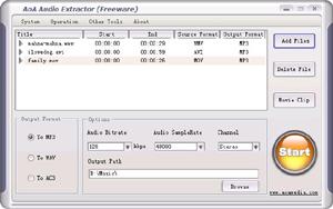 Capture d'ecran du logiciel AoA Audio Extractor 2.3.6