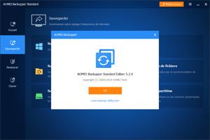 Capture d'ecran du logiciel AOMEI Backupper Standard 5.6.0 fr