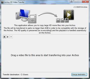 Capture d'ecran du logiciel Archos HD Video Transfer 1.0 fr