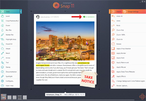 Capture d'ecran du logiciel Ashampoo Snap 11.1.0 fr