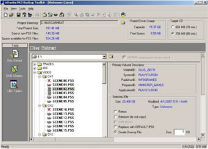 Capture d'écran du logiciel Atlantis PS2 Backup Toolkit 2....