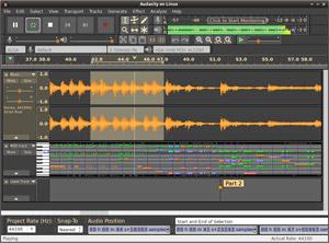 Capture d'ecran du logiciel Audacity 2.3.2 fr - Linux