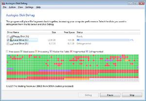 Capture d'ecran du logiciel Auslogics Disk Defrag 9.5.0.1 fr
