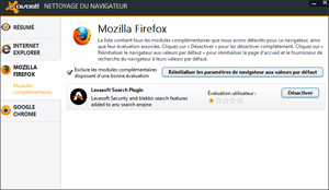Capture d'ecran du logiciel Avast Browser Cleanup 12.1.2272.125 fr