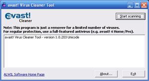 Capture d'écran du logiciel Avast! Virus Cleaner 1.0.211