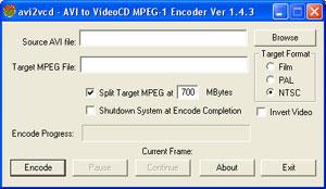 Capture d'écran du logiciel Avi2Vcd 1.4.4
