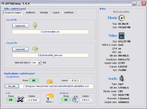 Capture d'ecran du logiciel AVI ReComp 1.5.6 fr