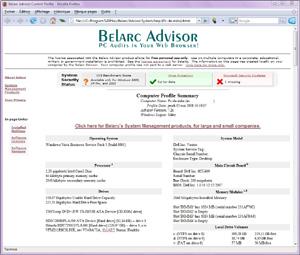 Capture d'écran du logiciel Belarc Advisor 8.5.3.0