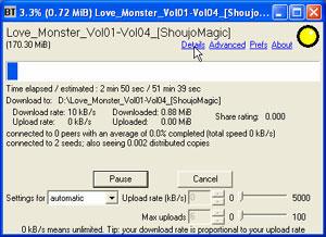Capture d'ecran du logiciel BitTornado 0.3.18