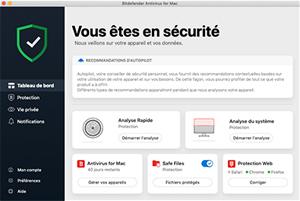 Capture d'ecran du logiciel Bitdefender 2018 fr - Mac