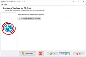 Capture d'écran du logiciel CD Recovery Toolbox Free 2.2.0.0