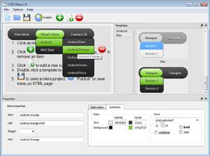 Capture d'écran du logiciel CSS3 Menu 5.3 fr