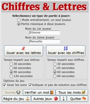 Capture d'écran du logiciel Chiffres&Lettres 1.20 fr