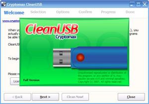 Capture d'écran du logiciel CleanUSB 2.0