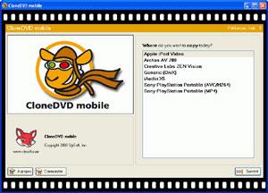Capture d'écran du logiciel CloneDVD Mobile 1.9.5.0 fr