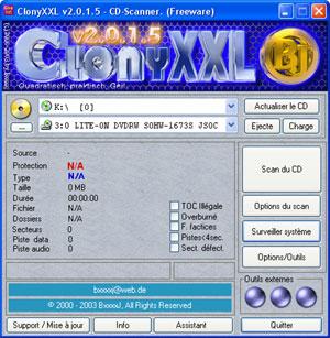 Capture d'écran du logiciel ClonyXXL 2.0.1.5 fr