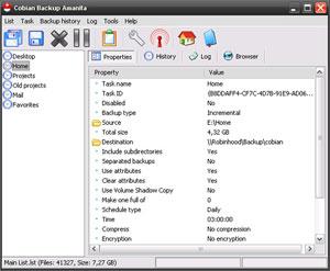 Capture d'ecran du logiciel Cobian Backup 11.2.0.582 fr