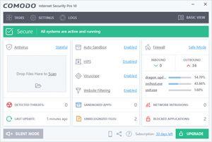 Capture d'ecran du logiciel Comodo Antivirus 12.2.2.7036 fr
