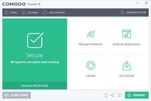Capture d'écran du logiciel Comodo Firewall 10.0.1.6223 fr
