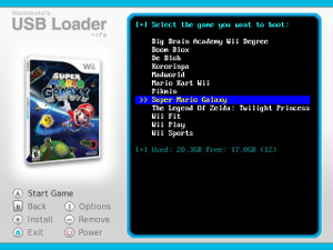 Capture d'écran du logiciel Configurable USB Loader v70 fr