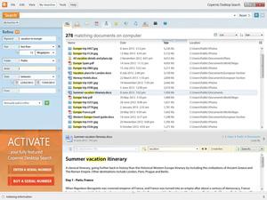 Capture d'ecran du logiciel Copernic Desktop Search Lite 7.1.2 Build 13483 fr