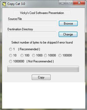 Capture d'écran du logiciel Copy Cat 3.0