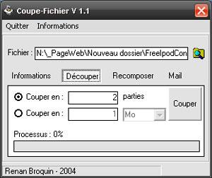 Capture d'écran du logiciel Coupe-Fichier 1.1 fr
