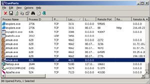 Capture d'ecran du logiciel Currports 2.62 fr