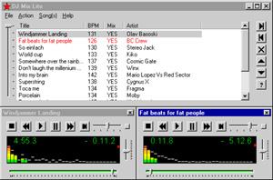 Capture d'écran du logiciel DJ Mix Lite 1.3 build 107