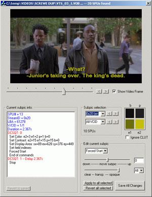 Capture d'écran du logiciel DVDSubEdit 1.52