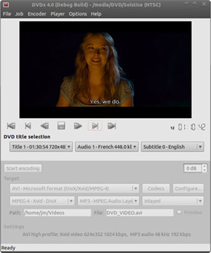 Capture d'écran du logiciel Dvdx 4.0.1.0 fr - Linux