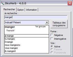 Capture d'écran du logiciel DicoVerb 4.0.0 fr